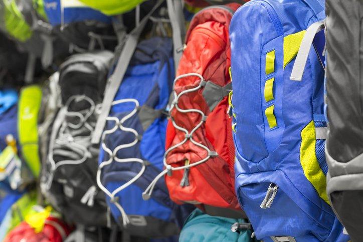 backpacks in shop