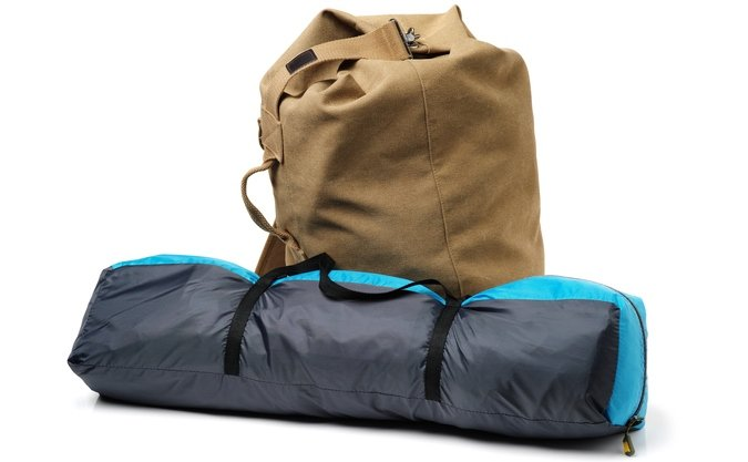 tent with backpack