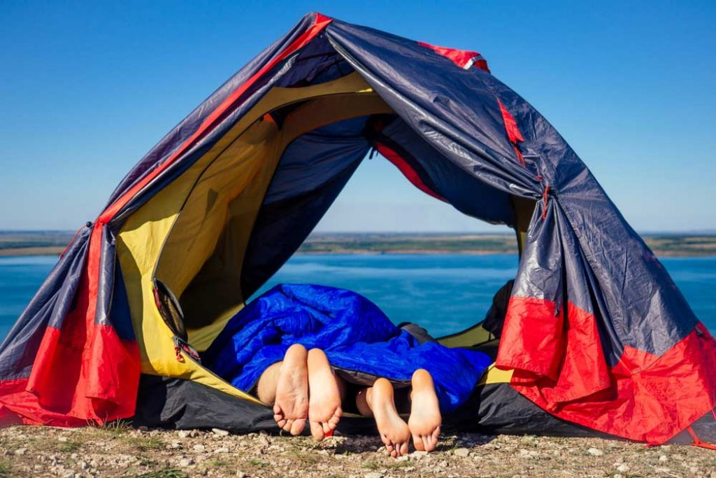 Two person sleeping bag inside a tent