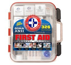 First Aid Kit Hard Red Case 326 Pieces Exceeds OSHA and ANSI