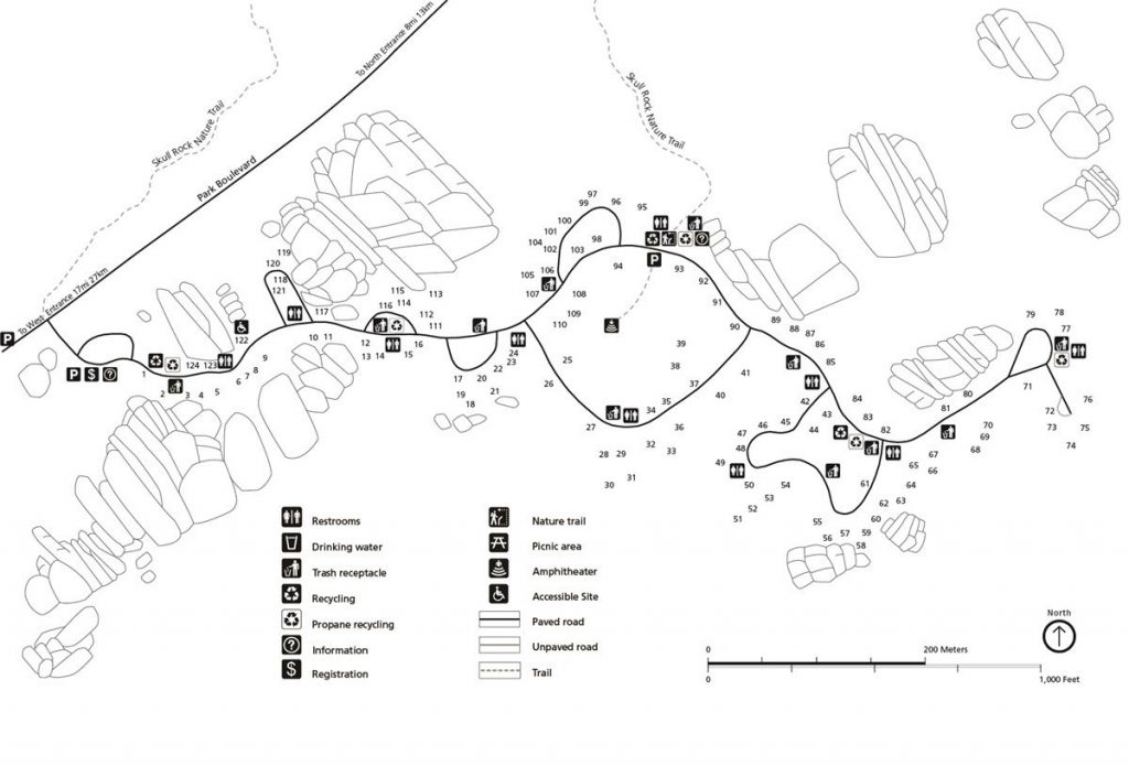 Jumbo Rocks Campground map